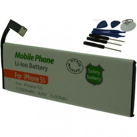 Batterie pour iPhone 5s 612-0610 3.8V Li-Lion 1560mAh avec 8 outils
