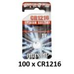 Carton de 100 piles boutons CR1216 3V Lithium MAXELL