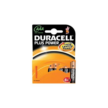 8 Piles AAA LR03 Alcaline 1.5V DURACELL Plus Power