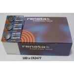 Carton de 100 piles boutons CR2477 3V Lithium RENATA