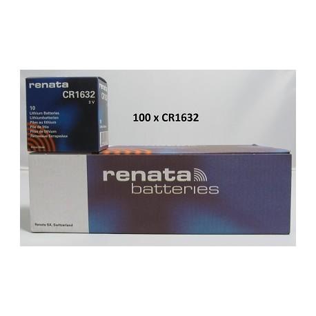Boite de 100 piles boutons CR1632 3V Lithium RENATA