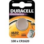 Carton de 100 piles boutons CR1620 3V Lithium DURACELL