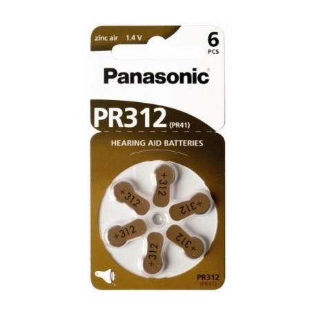 6 Piles Auditive PR312 1,4V PANASONIC