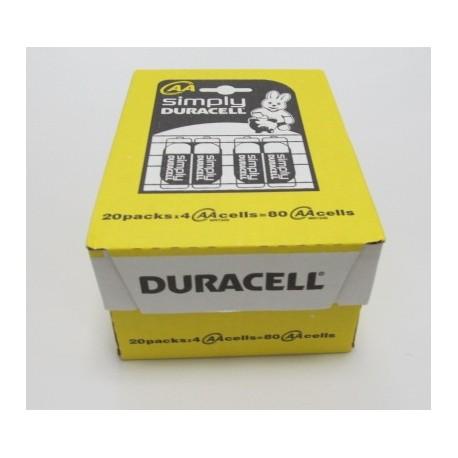 Carton de 80 piles AA DURACELL Simply