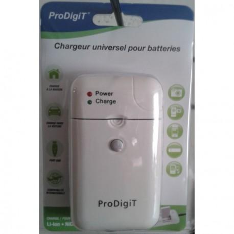 Chargeur universel de batterie Li ion et de piles rechargeables + prise USB