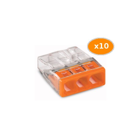 10 Bornes WAGO 2273 3x0.5 2.5mm2 ORANGE