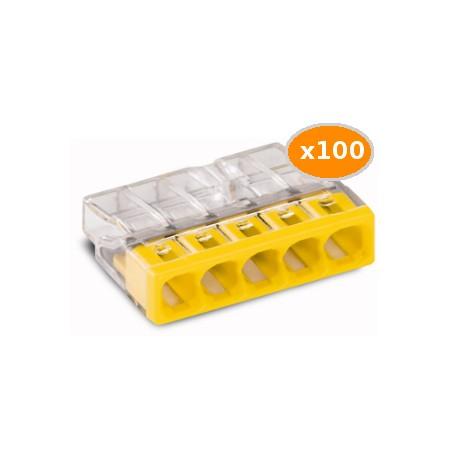 100 Bornes WAGO 2273 5x0.5 2.5mm2 JAUNE