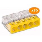 50 Bornes WAGO 2273 5x0.5 2.5mm2 JAUNE