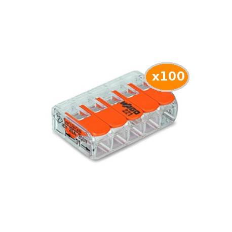100 Bornes WAGO 221 mini 5x4mm2 à levier