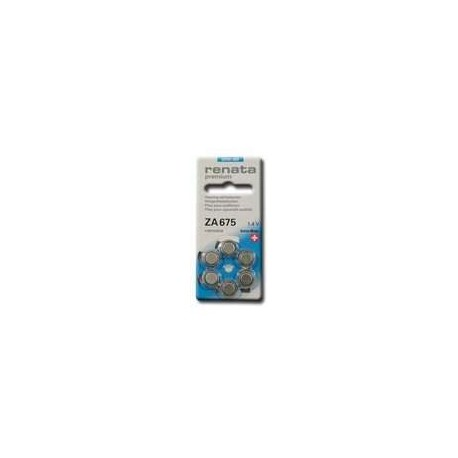 6 Piles auditives A675 Bleu PX76 PX675 RENATA