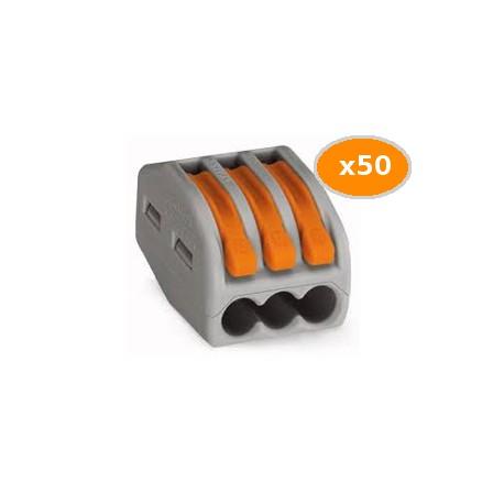 50 Bornes WAGO de connexion 3x0.08 4mm2 souple et rigide