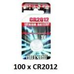 Carton de 100 piles boutons CR2012 3V Lithium MAXELL