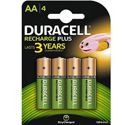 Piles Rechargeables AA 1300 Duracell Accu - AA NIMH - par 4