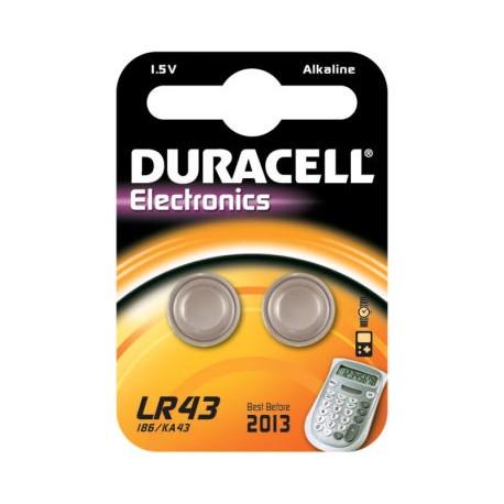 2 Piles bouton LR43 L1142 Alcaline 1,5V DURACELL