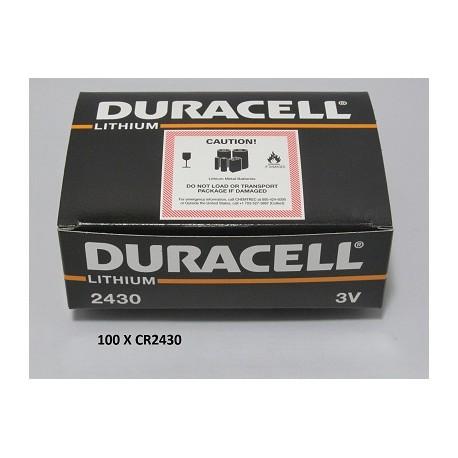 Carton de 100 piles boutons CR2430 3V Lithium DURACELL
