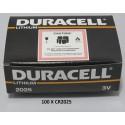 Carton de 100 piles boutons CR2025 3V Lithium DURACELL