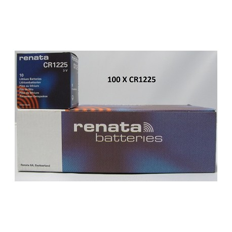 Boite de 100 piles boutons CR1225 3V Lithium RENATA