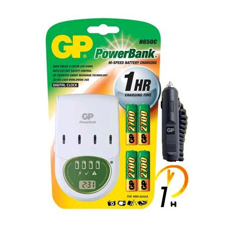 Chargeur PowerBank H650C 1h + 4 accus AA 2700 - GP