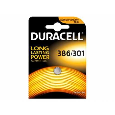 Pile bouton SR43 386 301 Duracell 1,5V Oxyde d\'argent