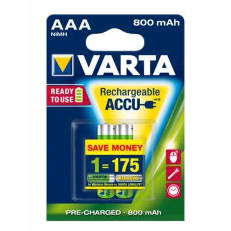 2 Accus VARTA AAA 1,2V 800mAh NiMH