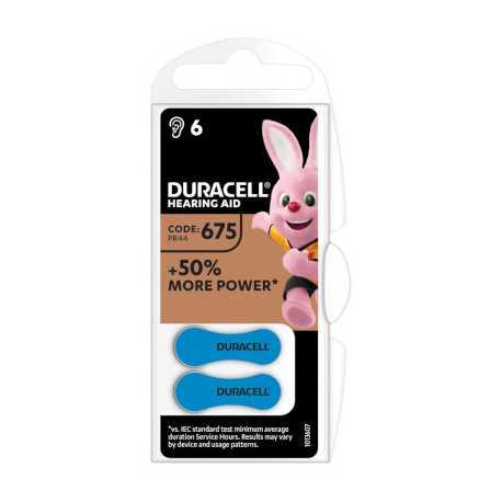 6 piles auditives PR44 675 Duracell EASYTAB 1,4V Zinc air