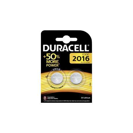 2 piles bouton CR2016 Duracell 3V Lithium