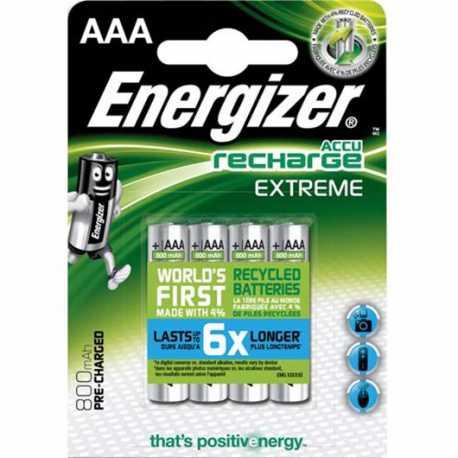 4 accus AAA LR03 Energizer 800Mah 1,2V NIMH