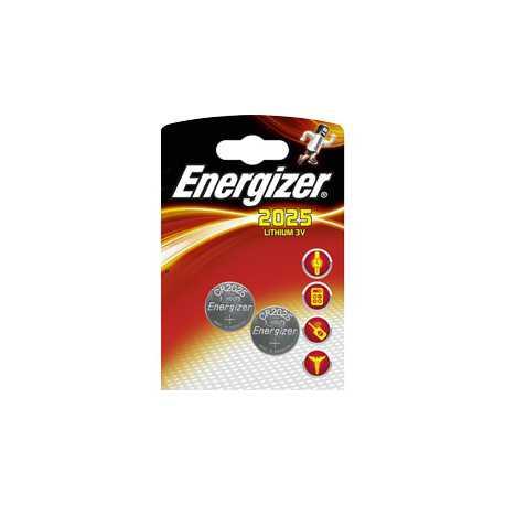 2 piles bouton CR2025 Energizer MAXI 3V Lithium