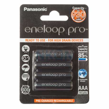 4 accus AAA LR03 Panasonic ENELOOP PRO 930Mah 1,2V NIMH