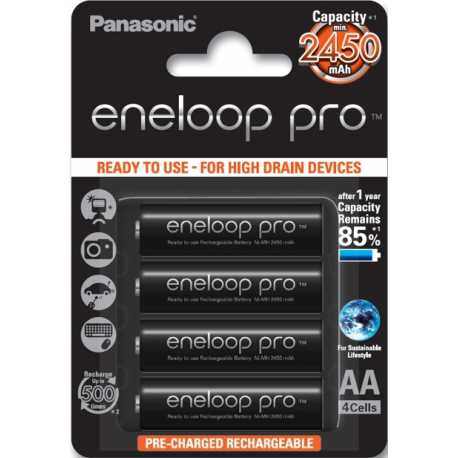 4 accus AA LR6 Panasonic ENELOOP PRO 2500Mah 1,2V NIMH