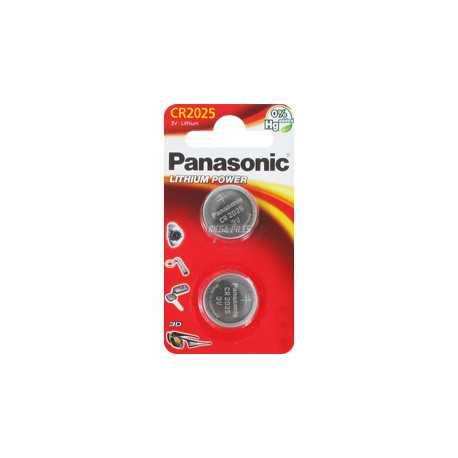 2 piles bouton CR2025 Panasonic 3V Lithium