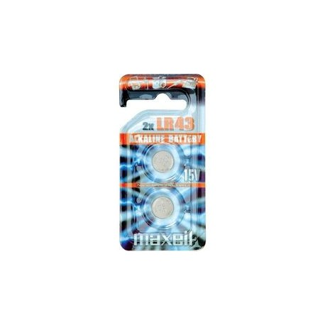 2 Piles bouton LR43 186 1,5V Alcaline MAXELL