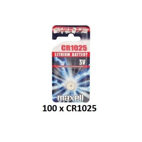 Carton de 100 piles boutons CR1025 3V Lithium MAXELL