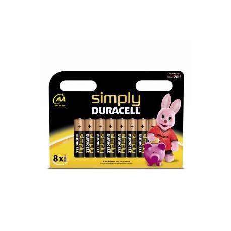 8 Piles AA LR06 Alcaline 1.5V DURACELL SIMPLY