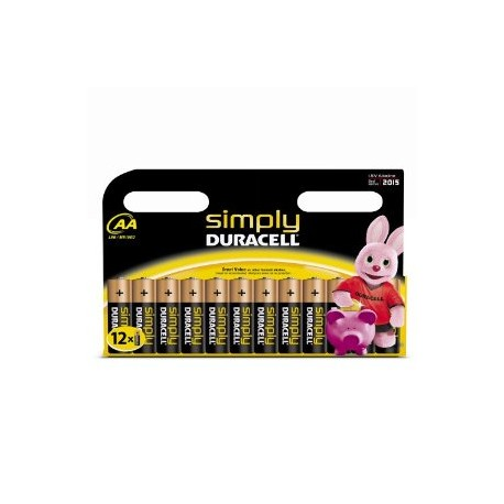 12 Piles AA LR06 Alcaline 1.5V DURACELL SIMPLY