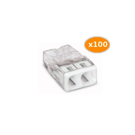 100 Bornes WAGO 2273 2x0.5 2.5mm2 BLANC