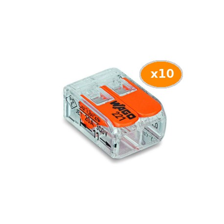10 Bornes WAGO 221 mini 2x4mm2 à levier