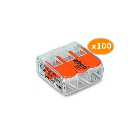 100 Bornes WAGO 221 mini 3x4mm2 à levier