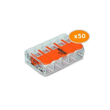 50 Bornes WAGO 221 mini 5x4mm2 à levier
