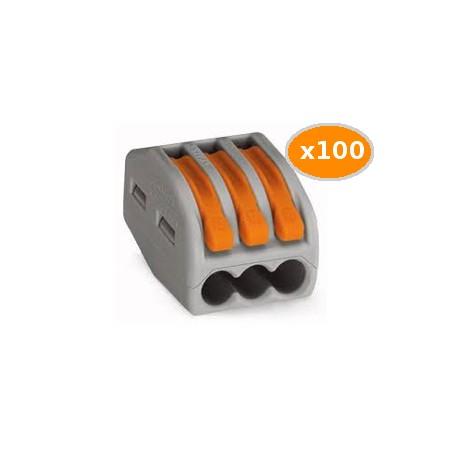 100 Bornes WAGO de connexion 3x0.08 4mm2 souple et rigide