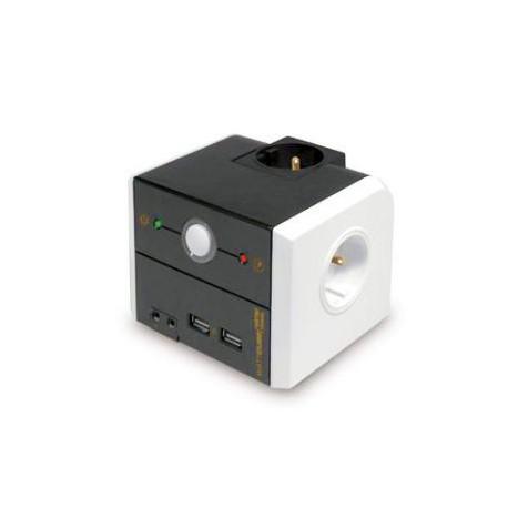 Multiprise compacte de bureau Parafoudre 3 prises + 2 USB WATTCUBE