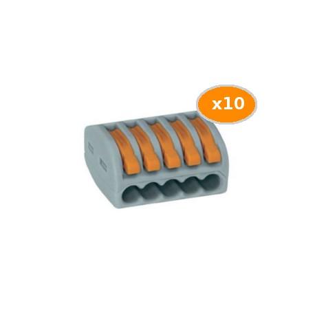 10 Bornes WAGO de connexion 5x0.08 4mm2 souple et rigide