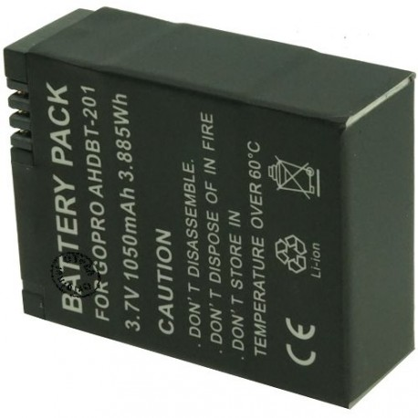 Batterie pour GO PRO AHDBT-201 AHDBT-301 3.7V 1100mAh