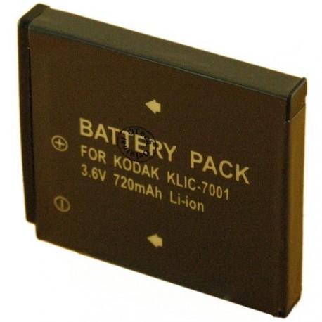 Batterie pour KODAK KLIC 7001 3.7V Lithium-Ion 720 / 720mAh