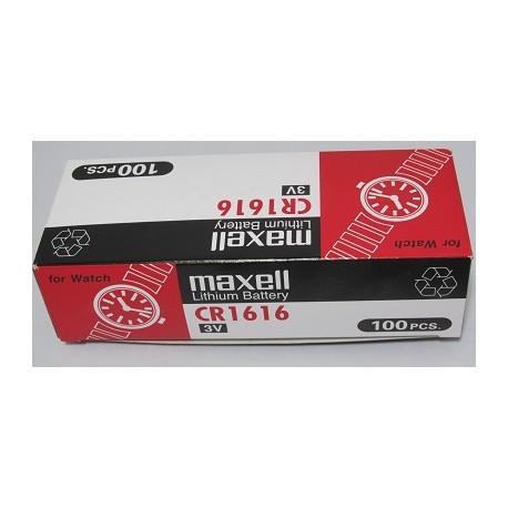 Carton de 100 piles boutons CR1616 3V Lithium MAXELL