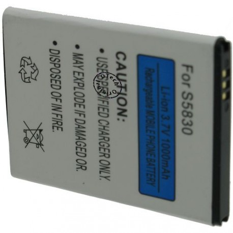 Batterie pour SAMSUNG GALAXY S5830 3.7V Li-Ion 1400mAh
